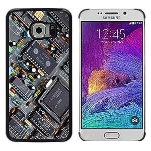 PCB Transistores Chipset - Metal de aluminio y de plástico duro Caja del teléfono - Negro - Samsung Galaxy S6 EDGE (NOT S6)