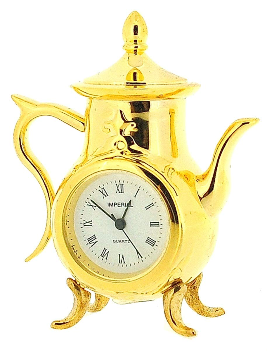 GTP Miniature Analogue Goldtone Metal Coffee Pot Novelty Collectors Clock IMP76
