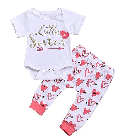 18012c8831c Amazon.com  2Pcs Infant Little Sister Newborn Baby Girls Cotton Short  Sleeve Leggings Pants + Romper Kids Jumpsuit Gifts Outfits Set  Clothing