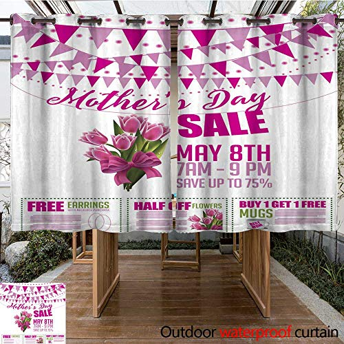 RenteriaDecor Outdoor Balcony Privacy Curtain Mother s Day Sale Bunting and Coupon Marketing Template W63 x L72