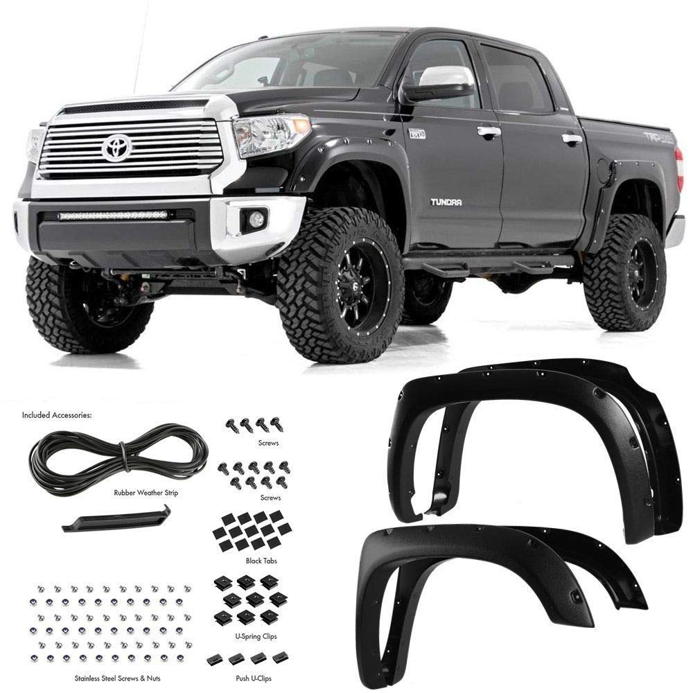 Yumy 4pcs Smooth Black Paintable Pocket Riveted Fit 2014-2018 Toyota Tundra Clip-in Style Fender Flares Pair China