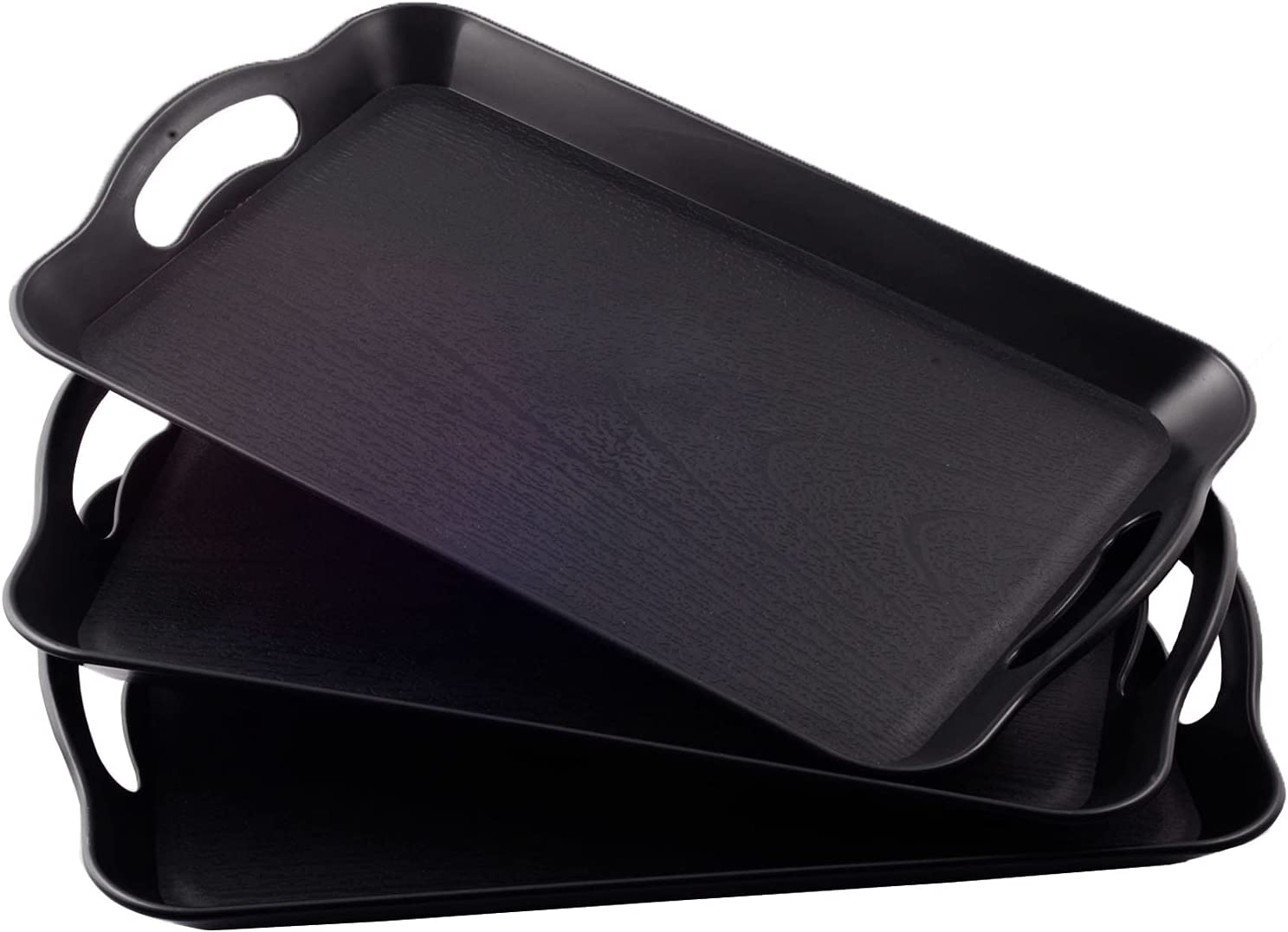 3 Pack Plastic Tray with Handles Rectangle Serving Tray Set, Multipurpose Tray Waterproof, Non Slip Trays for Serving Food, Parties, Coffee Table, Buffets, Breakfast(Black Wood Grain)