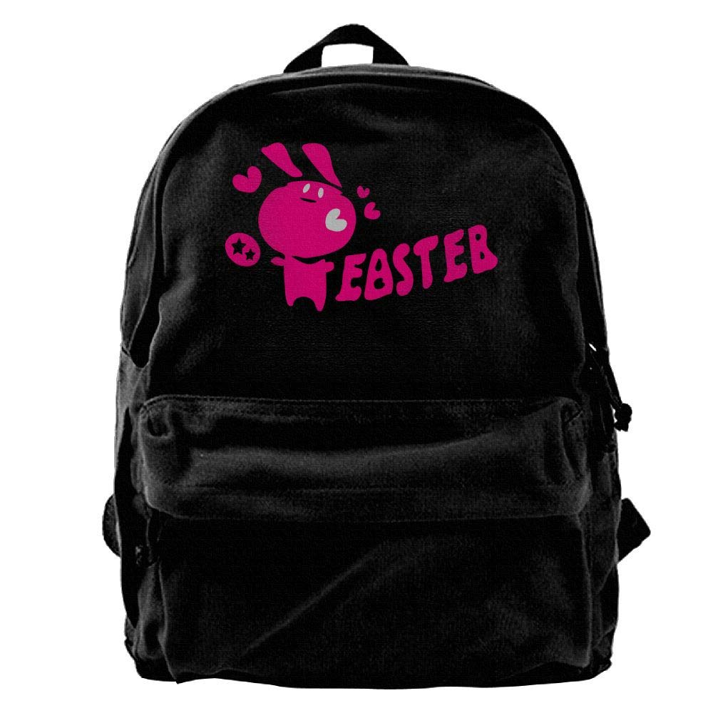 Kotdeqay Easter Txt & Easter Bunny Egg- 10 Canvas Backpack Casual Computer College Bag Daypack for Travel, Hiking, Camping