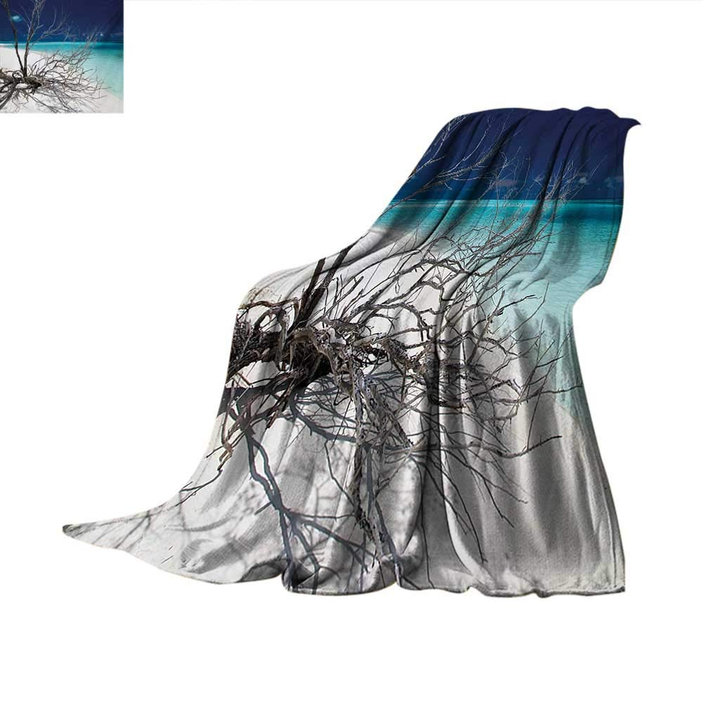 Driftwood Weave Pattern Blanket Seascape Theme Driftwood on The White Sandy Beach Coastal Digital Image Summer Quilt Comforter 60''x36'' Turquoise and Blue