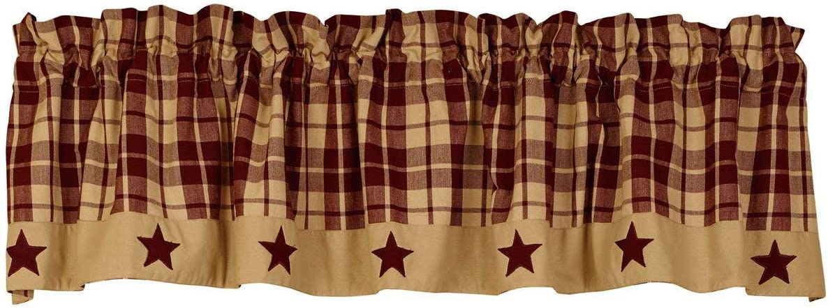 The Country House Collection Burgundy Farmhouse Star Valance 72×14