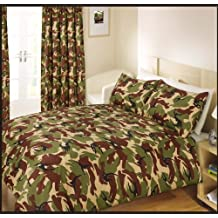 Single Bed Duvet / Quilt Cover Bedding Set Army Camouflage Green by Ashley Mills