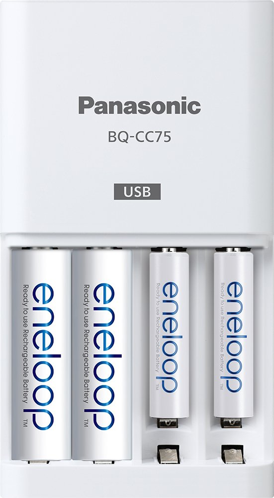 Panasonic BQ-CC75ASBA eneloop Individual Battery Charger with USB Charging Port, White