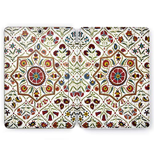 Wonder Wild Oriental Print Samsung Galaxy Tab S4 S2 S3 Smart Stand Case 2015 2016 2017 2018 Tablet Cover 8 9.6 9.7 10 10.1 10.5 Inch Clear Design Mosaic Ornament Traditional Decor Flowers Abstract -