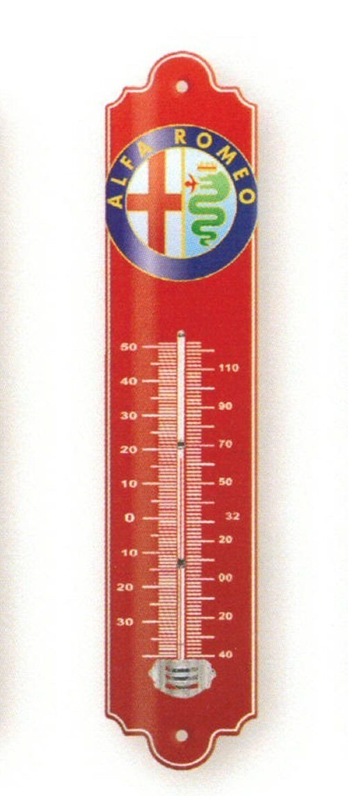 FRENCH METAL DECORATIVE SILKSCREENED THERMOMETER Italian car Alfa Roméo