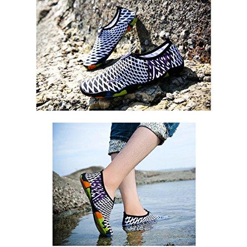 Cool&D Aquaschuhe Aqua Schuhe Wasserschuhe Atmungsaktiv Strandschuhe Schwimmschuhe Badeschuhe Surfschuhe für Damen Herren Kinder Schwarz