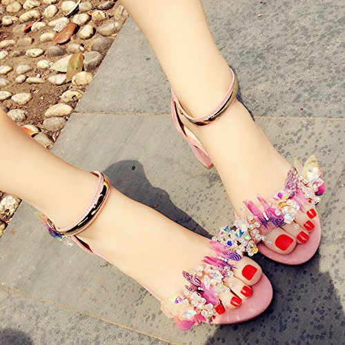 Handmade Metal Strap Buckle Color Sandals Shoes Shoes 6 VIVIOO Prom Holiday Beauty Pink Sandals Butterfly Sandals Diamond High Heelcrystal Y6q7gw