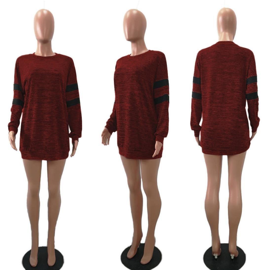 JiaMeng ❀ Donna Solido a Maniche Lunghe di Modo della Maglietta Semplice Svago Allentato