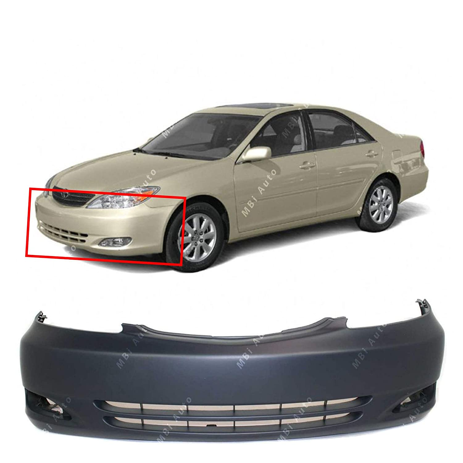 TO1000231 MBI AUTO Primered Front Bumper Cover Replacement Fascia for 2002 2003 2004 Toyota Camry 02 03 04