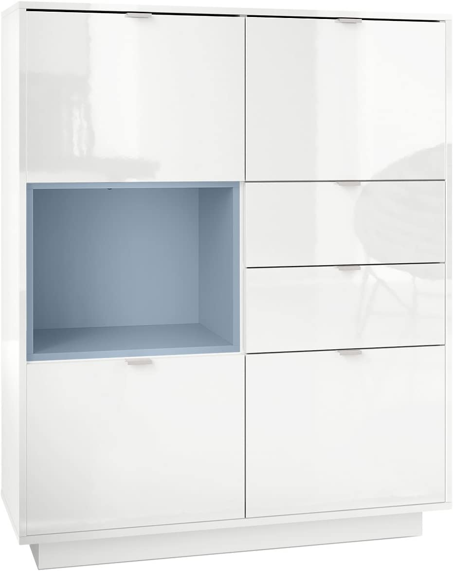 Vladon Highboard Sideboard Metro, Carcass in White High Gloss/Front in White High Gloss with an insert in Denim matt