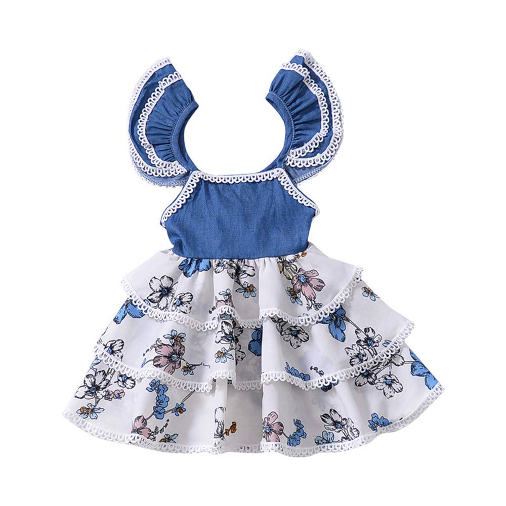 Gufenban Baby Girl Pageant Flower Girl Dress Kids Fancy Wedding Bridesmaid Gown Formal Multi-Layers Princess Dresses (Blue, 3 Years) by Gufenban (Image #5)