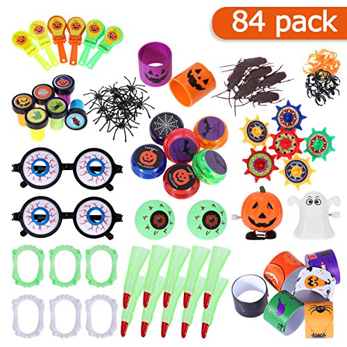 TOYMYTOY Halloween Novelties Toys Assortment Halloween Party Favors Halloween Treat Prizes Trick or Treat Classroom Goody Bags Favors (84Pcs) ()