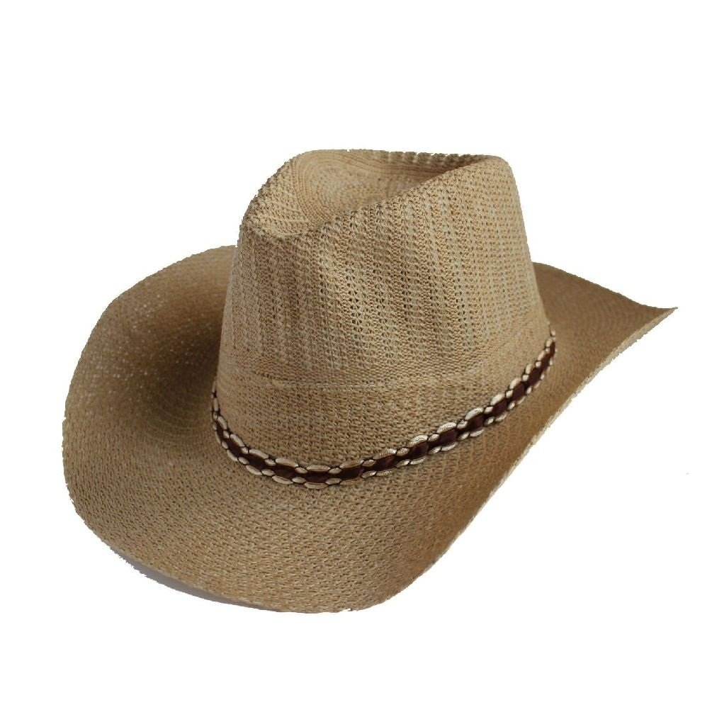 Fashion Ovedcray clothes Western Men Summer Straw Cowboy Hat Cap Hat Shareable Beach Sun Rodeo Panama Cap