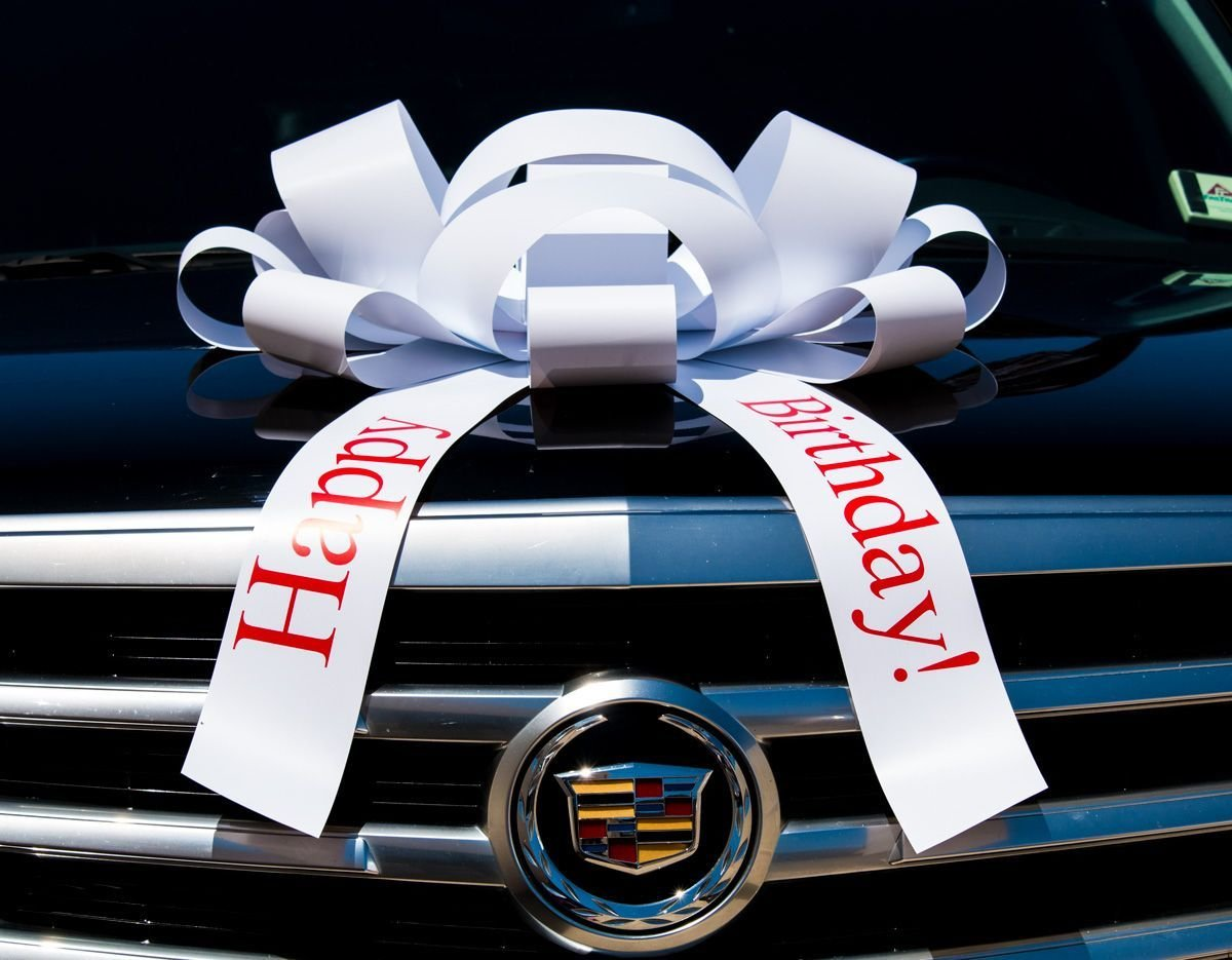 Eight24hours White Happy Birthday Car Bow Vinyl Magnetic Back No Scratch 2.5 feet - White