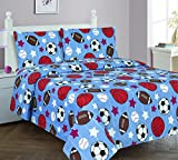 Elegant Home Multicolor Blue White Orange Brown Sports Basketball Football Baseball Soccer 4 Piece Printed Full Sheet Set with Pillowcases Flat Fitted Sheet for Boys / Kids/ Teens # Game Day (Full)