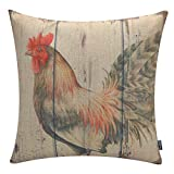 TRENDIN Retro Style Chicken Rooster Farm House Home Decor Throw Cushion Cover Burlap Pillow Case 18 x 18 Inches(PL026TR)