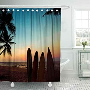 Shorping 78X72 Shower Curtain,Farm Shower Curtain, Cute Shower Curtain Silhouette Surfboard Tropical Beach Sunset in Summer Seascape Palm Bathroom Shower Curtains Shower Curtain Shower Curtain