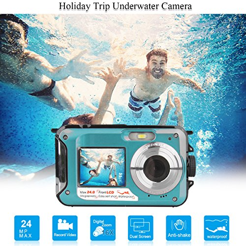 Dual Screen Waterproof Underwater Sports Action HD Mini Digital Video Recorder Camera,24MP 1080P Point and Shoot Digital Camcorder Camera (Blue 2)