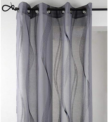 Lovely Casa R61242003VL de Essaouira Cortina de algodón con Gris 135 x 240 cm: Amazon.es: Hogar