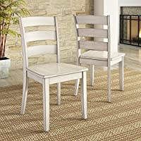 Lexington Ladder Back Dining Chair, Set of 2, Antique White finish