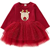Toddler Baby Girl Christmas Clothes Long Sleeve Lovely Deer Print Tulle Dress