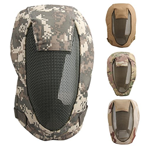 Oenbopo New Outdoor Tactical Safety Airsoft Paintball Game Full Face Protection CS Mesh Mask (ACU)