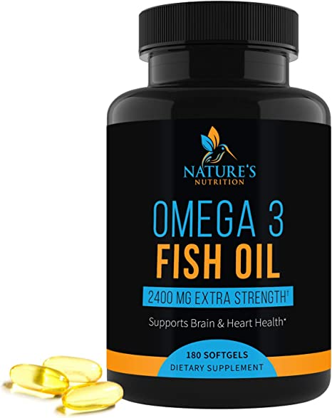 Omega-3 Fish Oil Supplement, Triple Strength 2400mg High EPA and DHA, Made in USA, Natural Heart Support and Brain Support for Men and Women, Non-GMO, Lemon Flavor - 180 Softgels