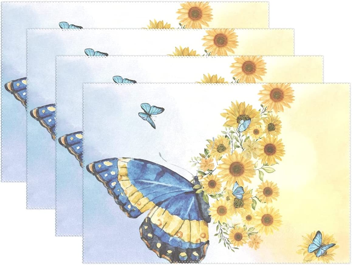 Sunflower Butterfly Placemats Set of 4,Colorful Flowers Washable Wear Resistant Table Mats for Party Kitchen Dining Decor 12 X 18 inch