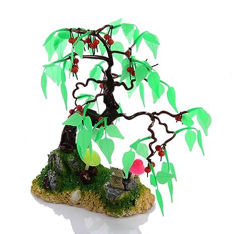 yunt frutas árbol decoración para acuario tanque de peces cartucho de resina de silicona