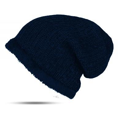 Strick Damen Mütze Beanie gefüttert Fleece