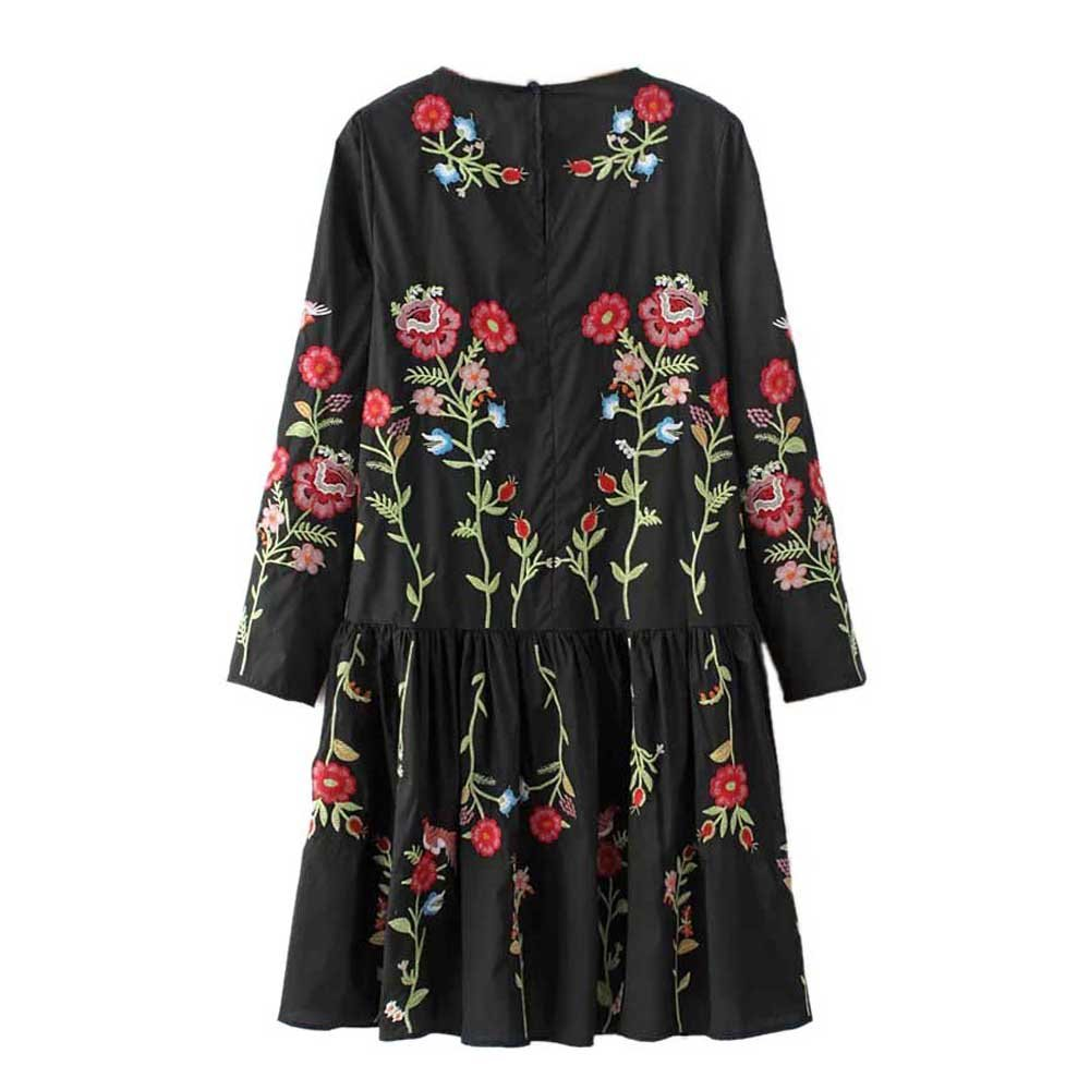 Viport Womens Full Floral Embroidered Ruffled Flared Dress 3/4 Mandarin Sleeve Black at Amazon Womens Clothing store: