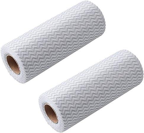 IETONE 2 Rollos Microfibra Paño de Limpieza de Cocina Fuertes Trapos Desechables 48 Recuento/Rollo de Tela Absorbente(Marrón): Amazon.es: Hogar
