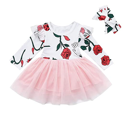 7066ac24d1b7 Amazon.com: Infant Toddler Baby Girls Dress Clothes 1-4 Years Old Kids  Ruffles Rose Floral Print Patchwork Princess Dresses: Clothing
