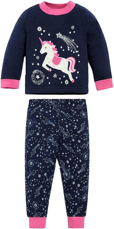 Pijamas Unicornio Niña Manga Larga Camiseta y Pantalones Conjunto ...