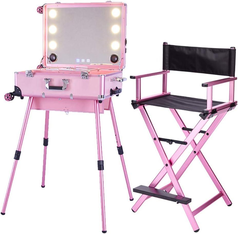 ZZSQ Estuche de Tren de Maquillaje LED Trolley de Pantalla táctil Estuche de Mesa de Tren cosmético con Luces y Altavoz Bluetooth Estudio de Artista Estación de Maquillaje Espejo de vanidad