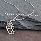 Sterling Silver Honeycomb Charm with Bronze Bee Necklace, 18''