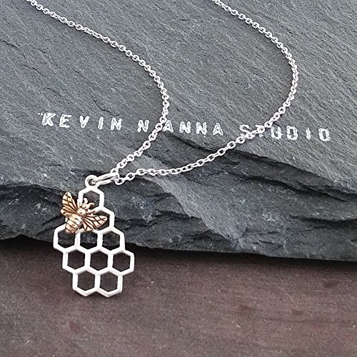 Sterling Silver Honeycomb Charm with Bronze Bee Necklace, 18'' by KEVIN N ANNA