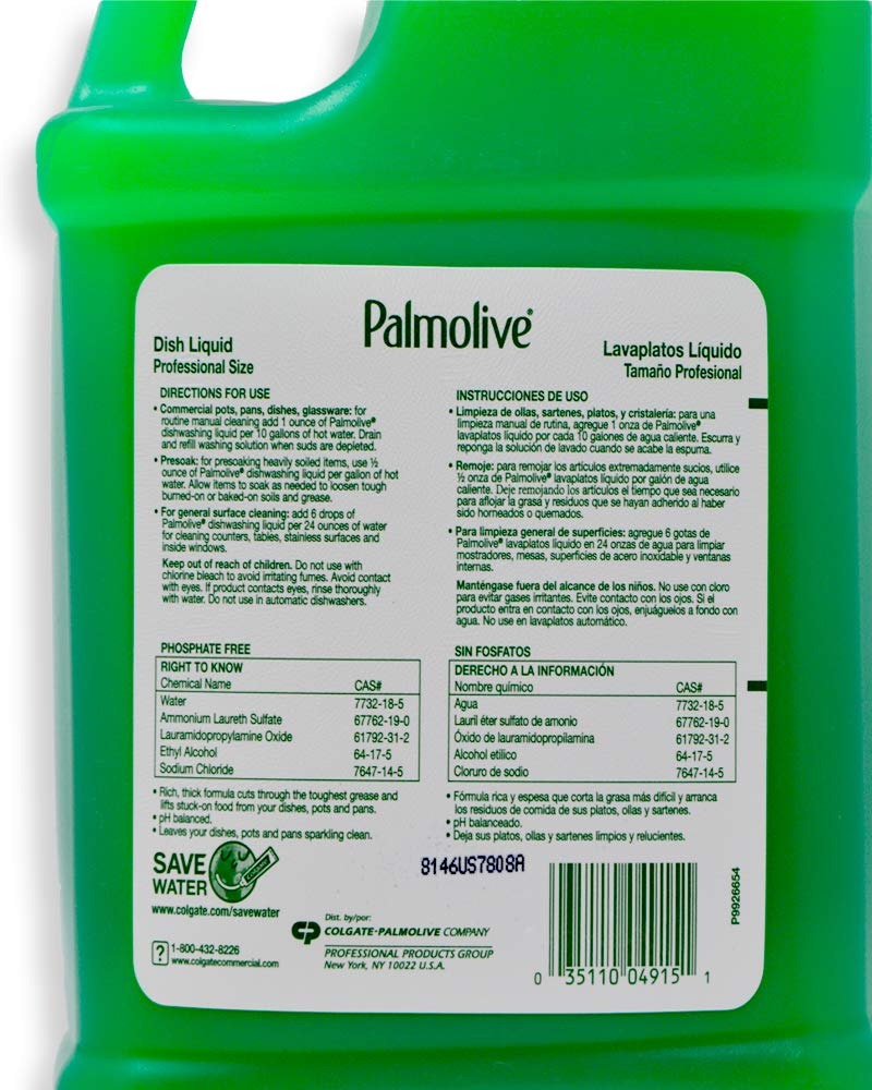 Amazon.com: Palmolive Professional Liquid Dishwashing Dish Soap with Pump Dispenser and 2 Scrub Sponges - 1 Gallon Industrial Size – Original Scent: Health ...