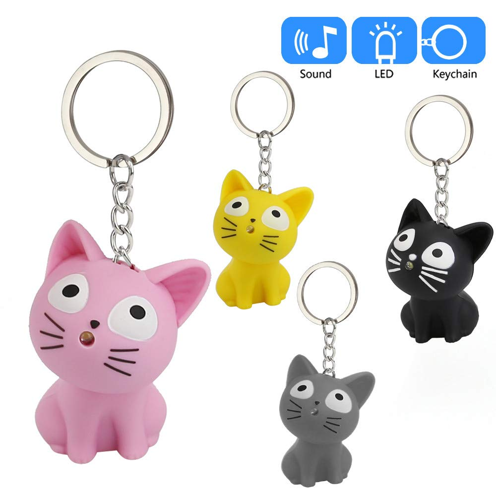 Aobiny Keychain, Cute Cat Keychain with LED Light and Sound Keyfob Kids Toy Gift (Black) by Aobiny (Image #1)