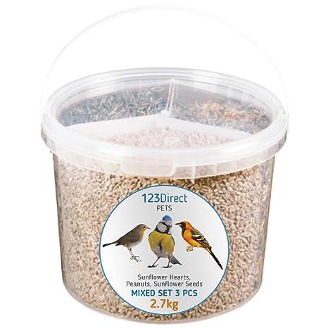 123Direct 2.7 KG - 3 en 1 Mezcla de Semillas para parajos y Aves Pipas de Girasol (con cazcara)+ Cacahuetes Semillas de Girasol de Mayor Calidad