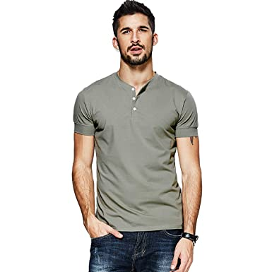 619c4989 Men Casual T Shirts V-Neck Slim Fit Henley 3 Button Fashion Cotton Solid Big