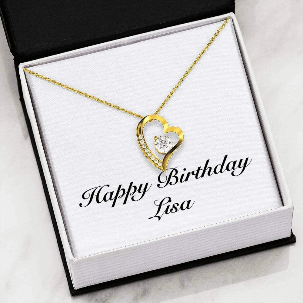 Forever Love Heart Necklace Personalized Name Gifts Happy Birthday Lisa