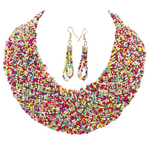 Glass Seed Bead Earrings - Gypsy Jewels Wide Braided Seed Bead Multi Strand Statement Necklace & Earrings Set (Multi Color 2)