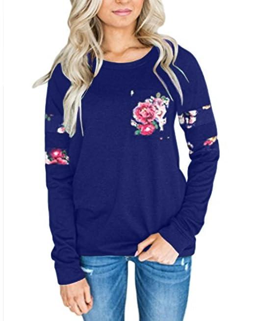 StyleDome Mujer Sudadera Elegante Otoño Camisetas De Manga Larga Blusas Tops flowers Impresa Azul S