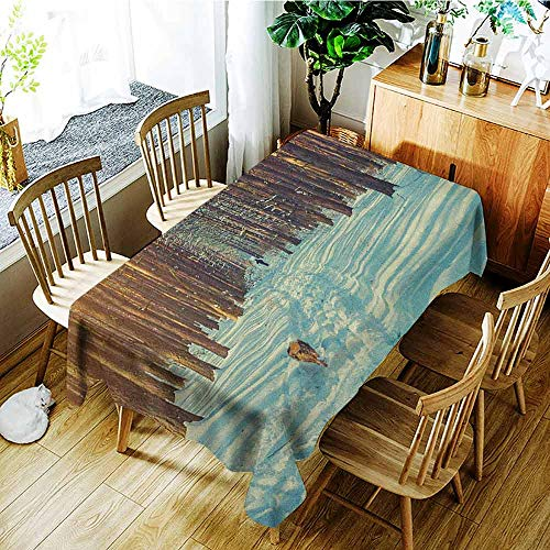 XXANS Spill-Proof Table Cover,Winter,Skier Figure Running Dog in The Forest Winter Season Snow and Dead Nature,Table Cover for Kitchen Dinning Tabletop Decoratio,W50x80L Orange Brown Seafoam]()