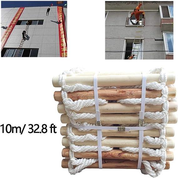 Cuerda Antideslizante de Seguridad de Escape de Madera Maciza Escaleras de evacuación, Nylon Rope Emergency Rescue 10 M Escalera de Escalada Fácil de almacenar,10m/32.8ft: Amazon.es: Hogar